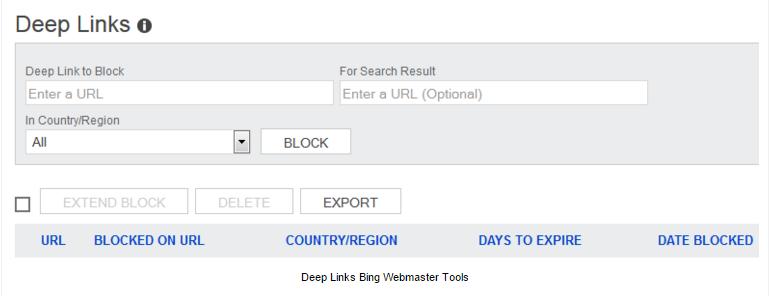deep links in bing webmaster tools