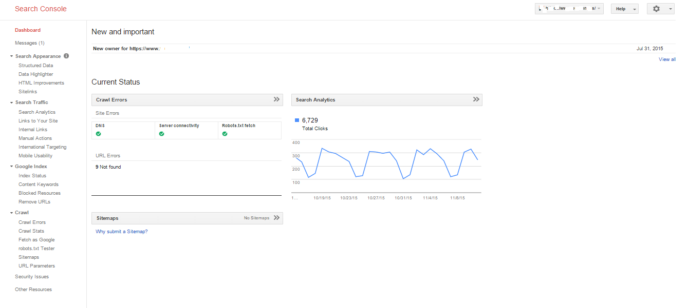 dashboard for google search console