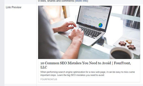 Example of Facebook Object Debugger link preview for 10 Common SEO Mistakes blog post
