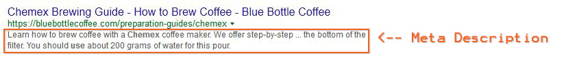 Screenshot: Meta description in a Google SERP search result