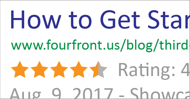 Mockup of star ratings in a Google search result
