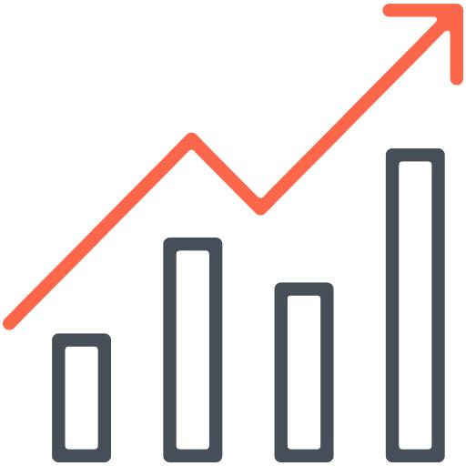 Upward trend line chart