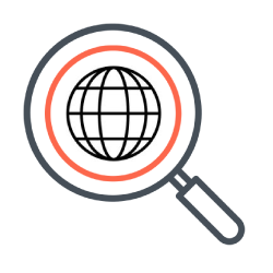 Search icon with globe