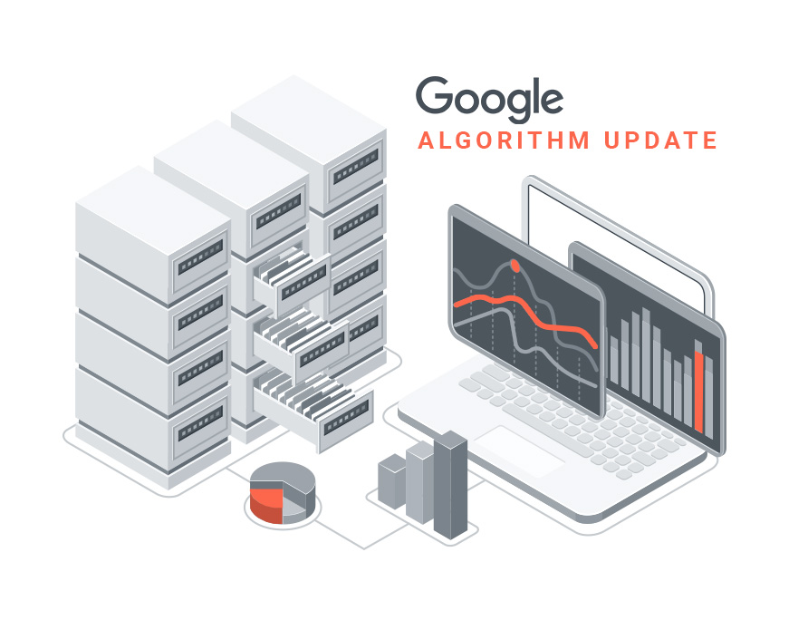 Google algorithm update image, with servers and a laptop